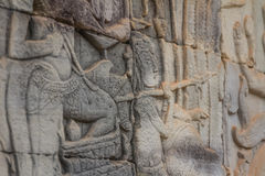 Ancient Khmer carving of Krishna, Angkor Royalty Free Stock Images