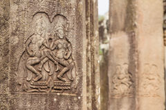 Ancient Khmer carving of Krishna, Angkor Stock Photo