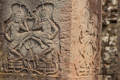 Ancient Khmer carving of Krishna, Angkor Stock Image