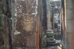 Ancient Khmer carving of Krishna, Angkor Royalty Free Stock Photography