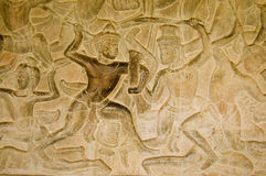 Ancient Khmer combat bas relief Royalty Free Stock Images