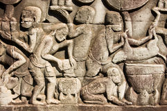 Ancient Khmer cooking scene Stock Image