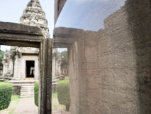 Ancient khmer inscription khmer writing found on Phimai historic Royalty Free Stock Images
