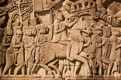 Ancient Khmer Military Commander frieze Stock Photos