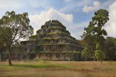 Ancient Khmer pyramid. Koh Kher Temple near Siem Reap town, Cambodia Stock Images