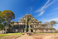 Ancient khmer pyramid in Koh Kher, Cambodia. With blue sky and clouds, sunny day Stock Photography