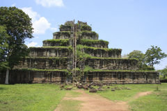Ancient khmer pyramid in Koh Kher, Cambodia. With blue sky and clouds, sunny day Royalty Free Stock Photography