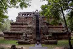 Ancient khmer temple view in Angkor Wat complex, Cambodia. Phimeanakas temple front view. stock photos