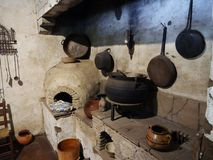 Ancient kitchen in Carmel Mission museum Royalty Free Stock Photos
