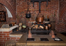 Ancient kitchen in Malbork castle Stock Images