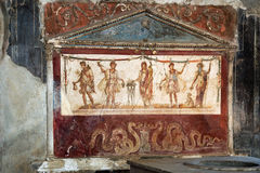 Ancient kitchen in Pompei. View of the fresco in ancient kitchen house in Pompei Italy Stock Image