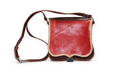 Ancient Knapsack. Ancient military leather knapsack on white background. Clipping path is included Stock Photo