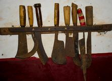 Ancient knife set used in kitchen of India Royalty Free Stock Image