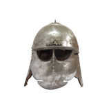 Ancient Knight Helmet. Medieval military iron Knight helmet on white background. Isolated with clipping path Royalty Free Stock Photos