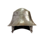 Ancient Knight Helmet. Ancient military iron Knight helmet on white background. Isolated with clipping path Stock Images