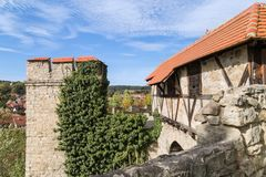 Knight`s castle watch tower stock image