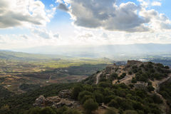 Ancient knights fortress and amazing Upper Galilee mountains view, Israel. stock photos