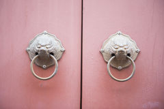 The ancient knock chinese style on pink door Royalty Free Stock Photography