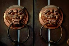Ancient knocker. The ancient knocker, like lions, embodies the ancient Palazzo characteristics, seldom at present intact Royalty Free Stock Photo
