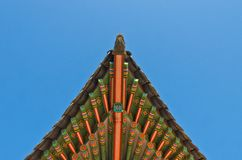 Ancient korean style end roof decorative ornament Royalty Free Stock Images
