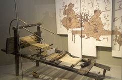 Ancient Korean weaving machine in museum Stock Photos