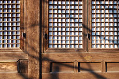Ancient Korean wooden window and wall design Stock Photography