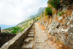 Ancient Kotor - stairs of the old fortress Royalty Free Stock Photography