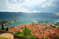 Ancient Kotor in sunset rays Royalty Free Stock Photos