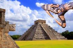 Ancient Kukulcan Mayan temple chichen itza snake. Ancient Kukulcan temple chichen itza snake handcraft Mayan Mexico Yucatan Royalty Free Stock Images