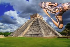 Ancient Kukulcan Mayan temple chichen itza snake Stock Image