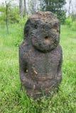 Ancient kurgan stelae in the Khortytsia isalnd, Zaporizhia, Ukraine. Stone babas Royalty Free Stock Image