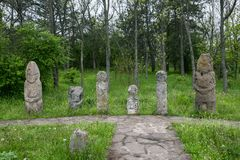 Ancient kurgan stelae in the Khortytsia isalnd, Zaporizhia, Ukraine. Stone babas Royalty Free Stock Images