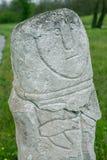 Ancient kurgan stelae in the Khortytsia isalnd, Zaporizhia, Ukraine. Stone babas Stock Photo