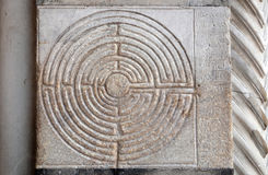 Ancient Labyrinth. Cathedral of St Martin in Lucca, Italy Royalty Free Stock Images