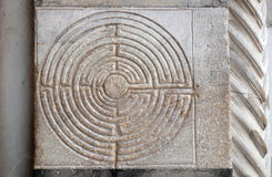 Ancient Labyrinth. Cathedral of St Martin in Lucca, Italy Stock Photography