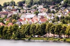 Ancient Lake European Village Stock Photo