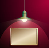Ancient lamp hanging. Big and empty bronze plate illuminated on the vinous wall. Royalty Free Stock Images