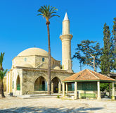 The ancient landmark. The complex of Hala Sultan Tekke is the notable landmark, located on the bank of Larnaca Salt lake, Cyprus Royalty Free Stock Photos