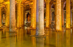 The ancient landmark. ISTANBUL, TURKEY - JANUARY 21, 2015: The  ancient Basilica Cistern is the waterproof receptacle for holding water, on January 21 in Royalty Free Stock Images