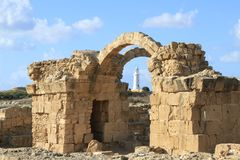 The Basilica Church religion antique attractions arch arch ruins of a stone building. Ancient landmark, the ruins of a Basilica with well-preserved arch of Royalty Free Stock Image