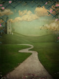 Ancient landscape. Poster created from photos of flowers, roads, fields, hills, temple