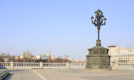 Ancient lantern on the background of the Moscow Kremlin. Stock Photos