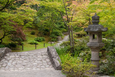 Ancient Lantern in japanese garden Royalty Free Stock Images