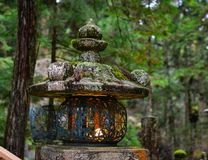 Ancient lantern at pine tree forest. An ancient lantern on Mt. Koya in Wakayama, Japan. Mount Koya Koya-san in Japanese is one of Japan most sacred mountains Royalty Free Stock Photo