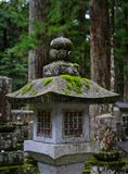 Ancient lantern at pine tree forest. Stone lantern at ancient cemetery on Sacred Mount Koya Koyasan in Wakayama, Japan Royalty Free Stock Image