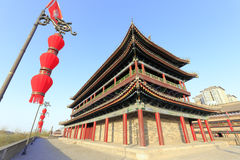 Ancient large building and red lantern on the xian city wall Royalty Free Stock Photography