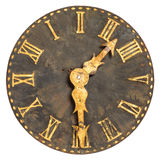 Ancient large church clock face. Isolated on a white background stock photo
