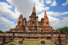 Ancient large pagodas at Wat Mahathat in Sukhothai Royalty Free Stock Image