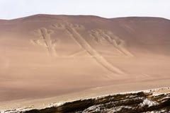 Ballestas Candelabrum Mark. Ancient large-scale geoglyph Candelabrum figure in Paracas national park Royalty Free Stock Image