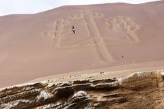 Ballestas Candelabrum Mark. Ancient large-scale geoglyph Candelabrum figure in Paracas national park Stock Image